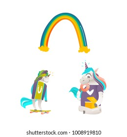 Vector cartoon funny stylized unicorn skateboarding, sitting, eating doughnut from present box, rainbow. Fairy mysterious creature, isolated illustration on a white background