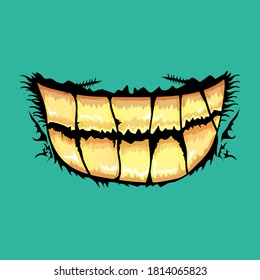 Vector cartoon funny zombie monster mouth with rotten teeth isolated on an azure background. Vector happy Halloween kids t-shirt design template with funky monster mouth
