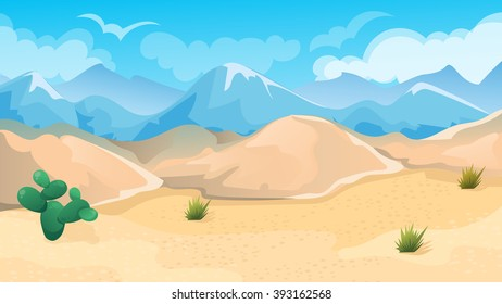 Vector cartoon game background of desert and hills landscape
