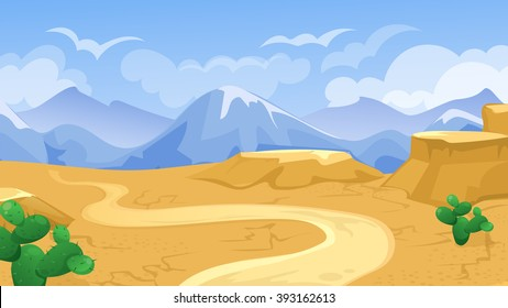 Vector cartoon game background of desert  landscape with road and cactus