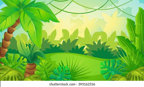 Vector cartoon game background of green jungle landscape