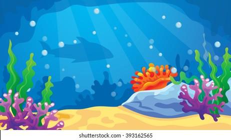 Vector cartoon game background of underwater world