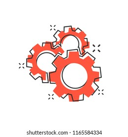 Vector cartoon gear icon in comic style. Cog wheel concept illustration pictogram. Gearwheel cogwheel business splash effect concept.