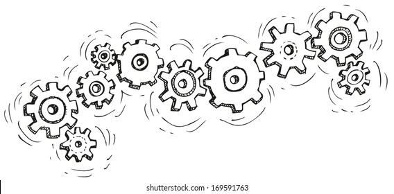 Vector cartoon gear wheels. Drawn in black ink on white background