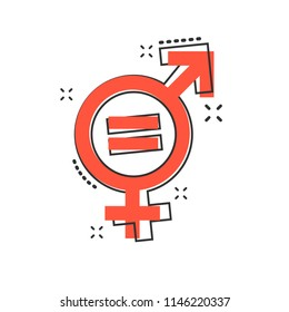 Vector cartoon gender equal icon in comic style. Men and women sign illustration pictogram. Sex business splash effect concept.