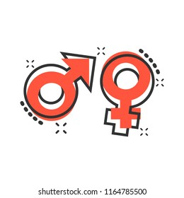 Vector cartoon gender icon in comic style. Men and women sign illustration pictogram. Sex business splash effect concept.