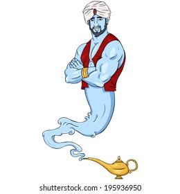 Vector Cartoon Genie and Magic Lamp