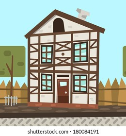 Vector cartoon Germany house. For postcards, games, web sites and invitations.