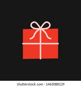 Vector cartoon gift box isolated on a black background. Present on a event,party element