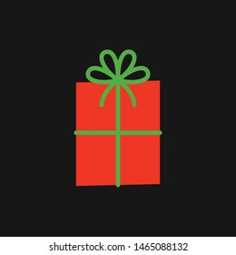 Vector cartoon gift box isolated on a black background