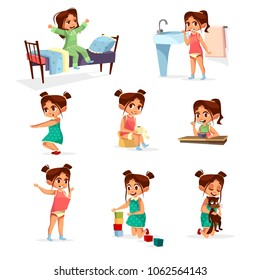 Vector cartoon girl daily routine activity set. Female character wake up, stretch, brushing teeth doing gymnastics, toilet, dressing up eat breakfast play cat, cube toy. Illustration kid life schedule