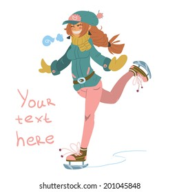 Vector cartoon Girl on Skates. The vector illustration of cute young girl on skates. For ui, web games, tablets, wallpapers, and patterns.