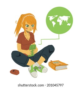 Vector cartoon Girl Writing Text Message on Her Mobile Phone. The vector illustration of young girl writing message on her mobile phone. For ui, web games, tablets, wallpapers, and patterns.