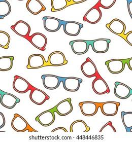 vector cartoon glasses seamless pattern