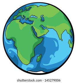 vector cartoon globe