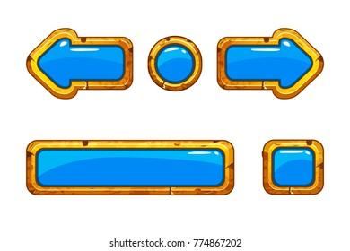 Vector Cartoon gold old blue buttons for game or web design, gui elements set, gui elements set