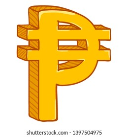 Vector Cartoon Gold Philippine Currency Symbol. Pesos Sign