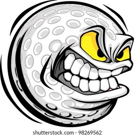 Vector Cartoon Golf Ball with Mean Face