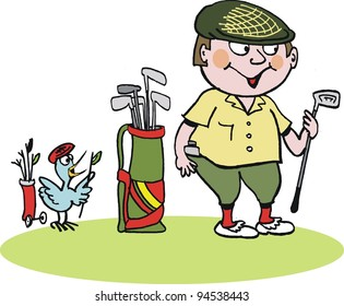 Vector cartoon of golfer with bag of clubs