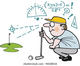 Vector cartoon of golfer planning shot