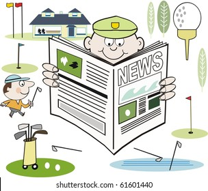 Vector cartoon of golfer reading newspaper with clubhouse, greens and clubs in background.