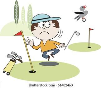 Vector cartoon of golfer watching bird fly away with ball.