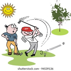 Vector cartoon of golfers playing game outdoors