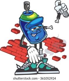 vector cartoon graffiti spray can