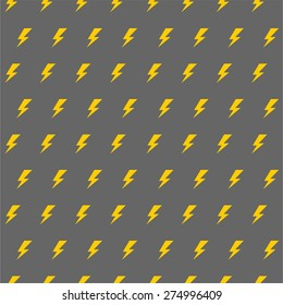 Vector cartoon gray lightnings and thunder seamless pattern flat design on a mint background