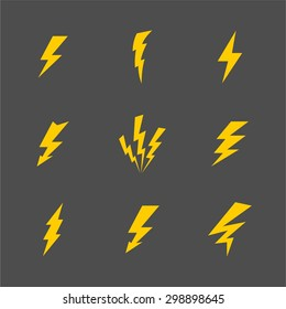 Vector cartoon gray lightnings and thunder icon set flat design isolated on a white background