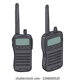 Vector Cartoon Gray Walkie-Talkie. Emergency Communication Equipment.