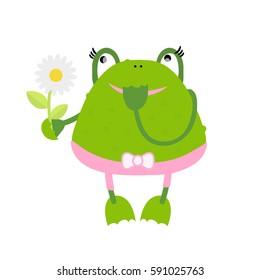 Vector cartoon green frog with flowers