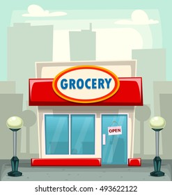 vector cartoon grocery store building illustration for shop icon