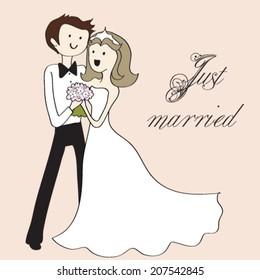 Vector cartoon groom and bride