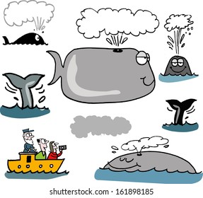 Vector cartoon of group of funny whales and boat with sightseers.