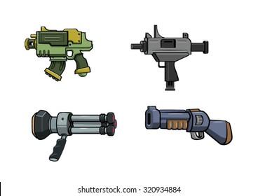 Vector Cartoon Guns asset for game.