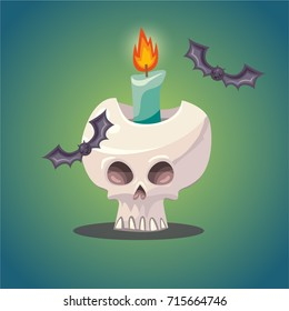 Vector cartoon Halloween illustration of skull with flaming candle inside and flying bats. Scary comic style design