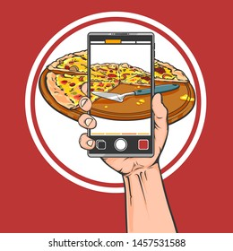 Vector cartoon hand drawn illustration of human hand with big phone, take a photo of big pizza on the phone, vector illustration isolated on red background