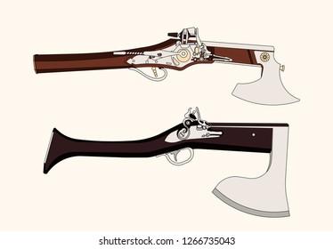 Vector cartoon hand drawn set of vintage flintlock pistol and battle axe combination weapon