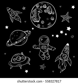 Vector cartoon hand drawn set of space doodles, space objects