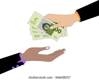 Vector cartoon of Hand, giving money euro to other hand