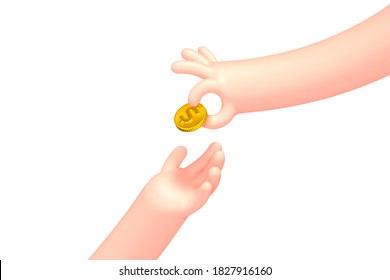 Vector cartoon hand with golden dollar coin, isolated on white background. Cashback, earnings, savings concept illustration.