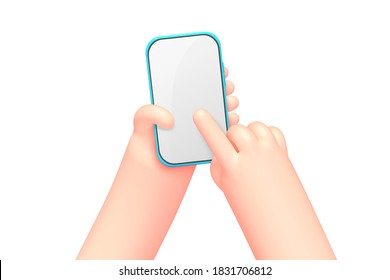Vector cartoon hands with smart phone, scrolling or searching for something, isolated on white background. Application, service concept illustration.