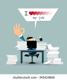 """Vector cartoon happy businessman is working hard in his office with computer and document paper. Business man drinking coffee and relaxing with text  """" I love my job """""""