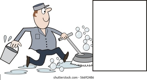 Vector cartoon of happy cleaning man running with floor polisher and scrubber.