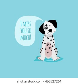 Vector cartoon happy dog, card template with text I miss you soo much