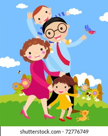 Vector cartoon of happy family walking outdoors with dog.