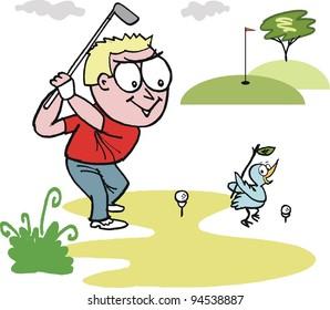 Vector cartoon of happy golfer swinging club on golf course