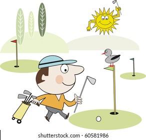 Vector cartoon of happy golfer walking on golf course.