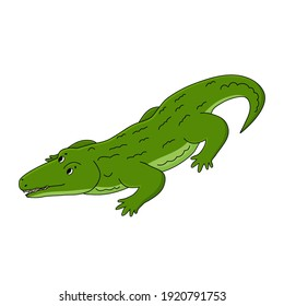 Vector Cartoon happy outline green crocodile. Animal is isolated on white background